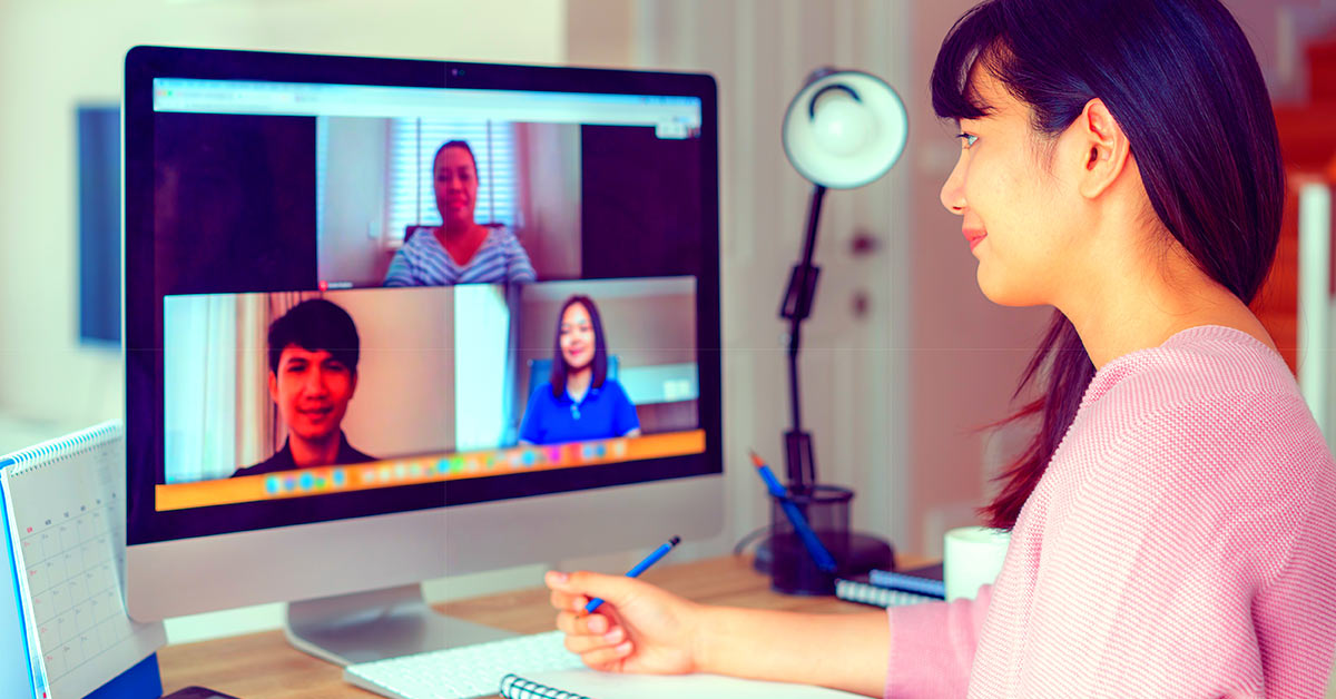 Woman doing an interview over video conference